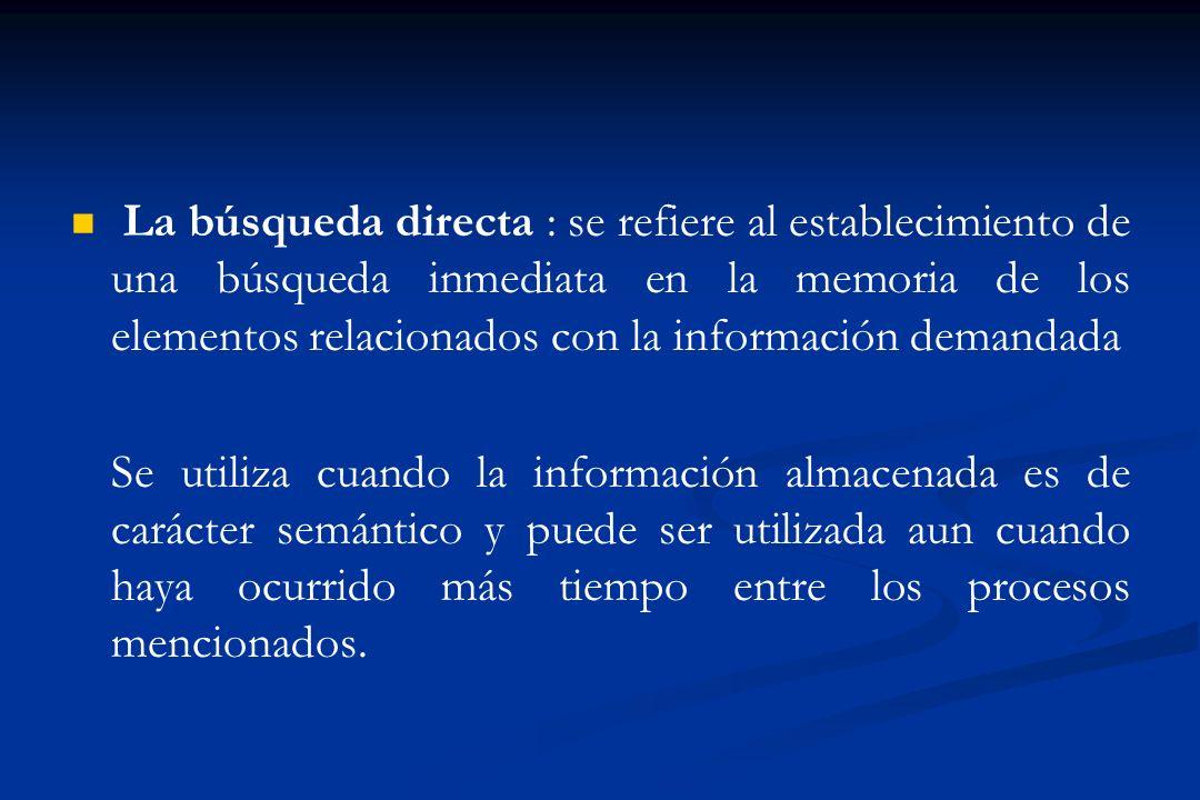 La búsqueda directa : se refiere al establecimiento de una búsqueda inmediata en la memoria de los elementos relacionados con la información demandada