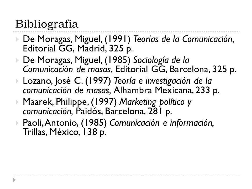 Bibliografía De Moragas, Miguel, (1991) Teorías de la Comunicación, Editorial GG, Madrid, 325 p.