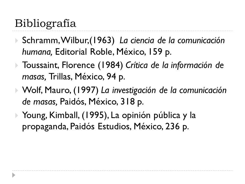 Bibliografía Schramm, Wilbur,(1963) La ciencia de la comunicación humana, Editorial Roble, México, 159 p.