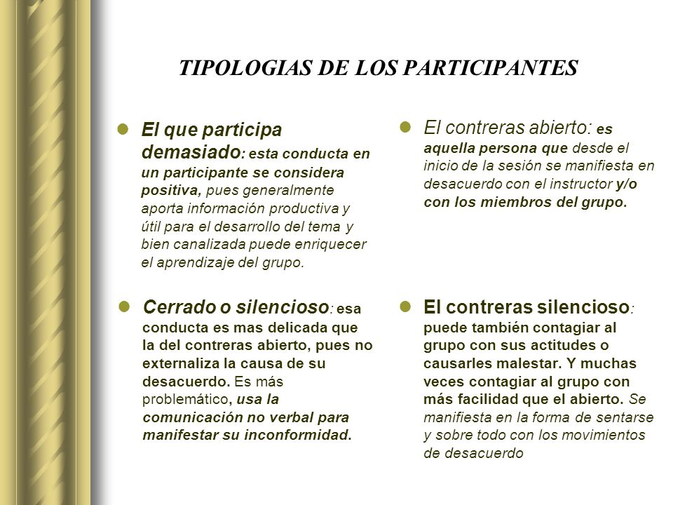 TIPOLOGIAS DE LOS PARTICIPANTES