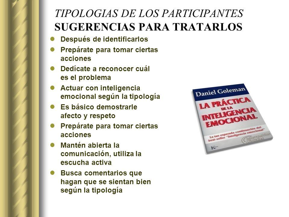 TIPOLOGIAS DE LOS PARTICIPANTES SUGERENCIAS PARA TRATARLOS