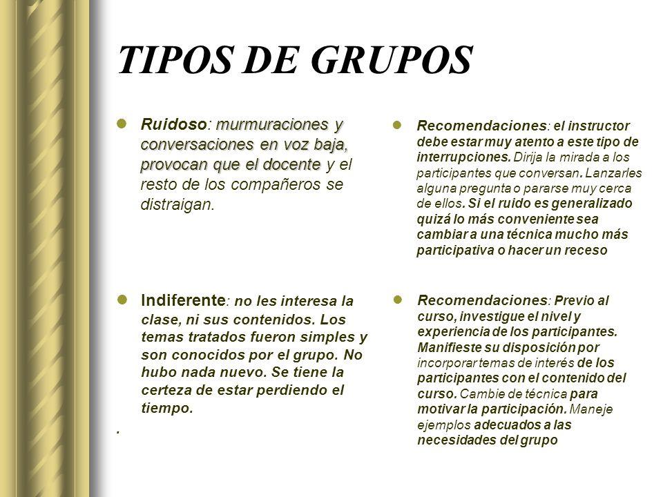 TIPOS DE GRUPOS Ruidoso: murmuraciones y conversaciones en voz baja, provocan que el docente y el resto de los compañeros se distraigan.