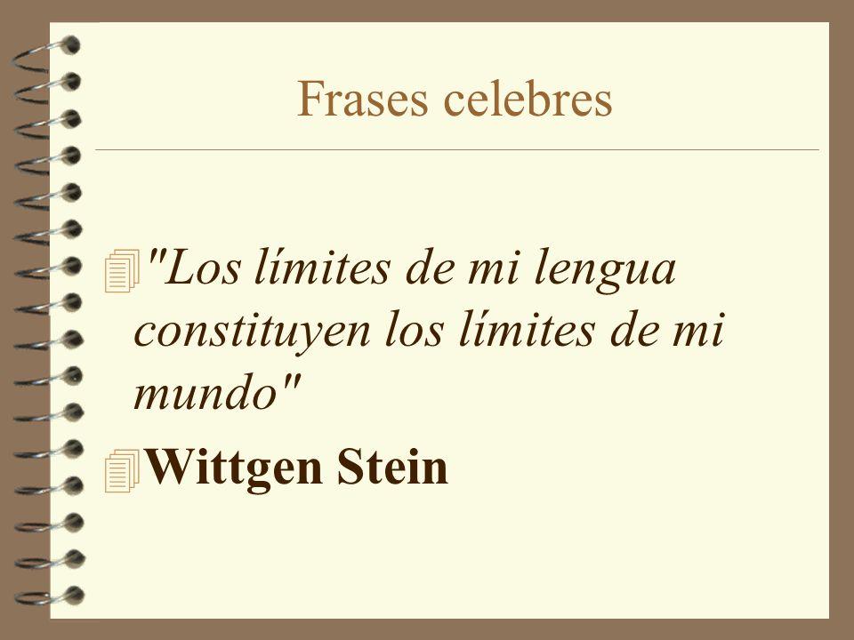 Frases celebres Los límites de mi lengua constituyen los límites de mi mundo Wittgen Stein
