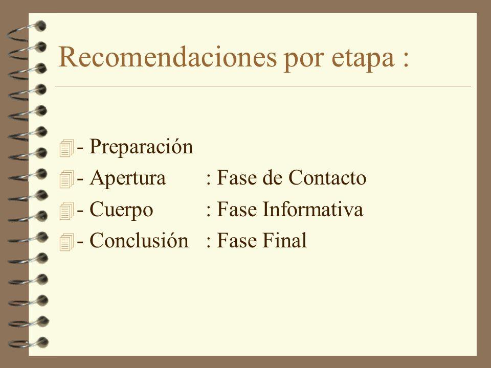 Recomendaciones por etapa :