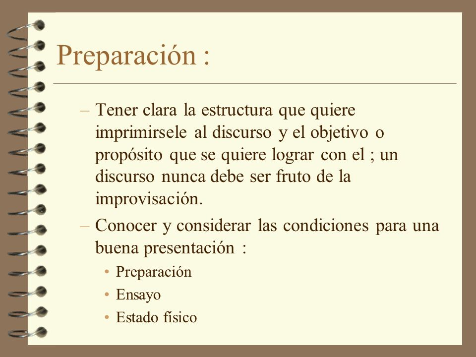 Preparación :