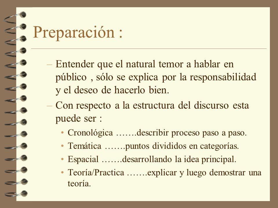 Preparación : Entender que el natural temor a hablar en público , sólo se explica por la responsabilidad y el deseo de hacerlo bien.