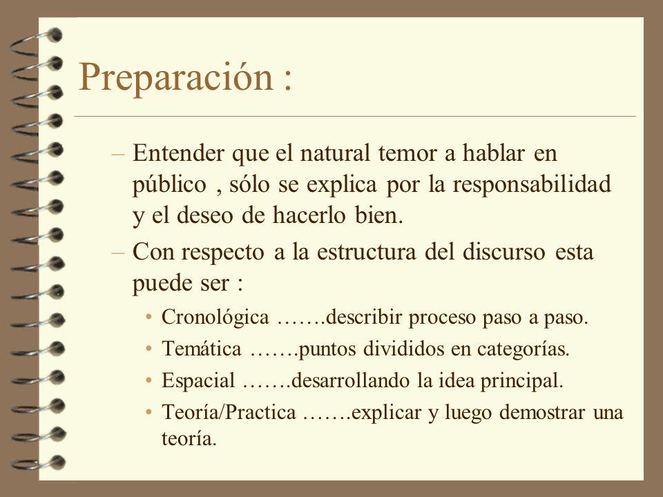 Preparación :Entender que el natural temor a hablar en público , sólo se explica por la responsabilidad y el deseo de hacerlo bien.