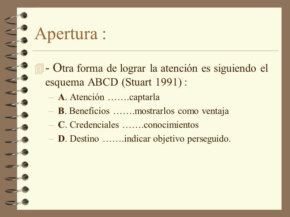 Apertura :- Otra forma de lograr la atención es siguiendo el esquema ABCD (Stuart 1991) : A. Atención …….captarla.