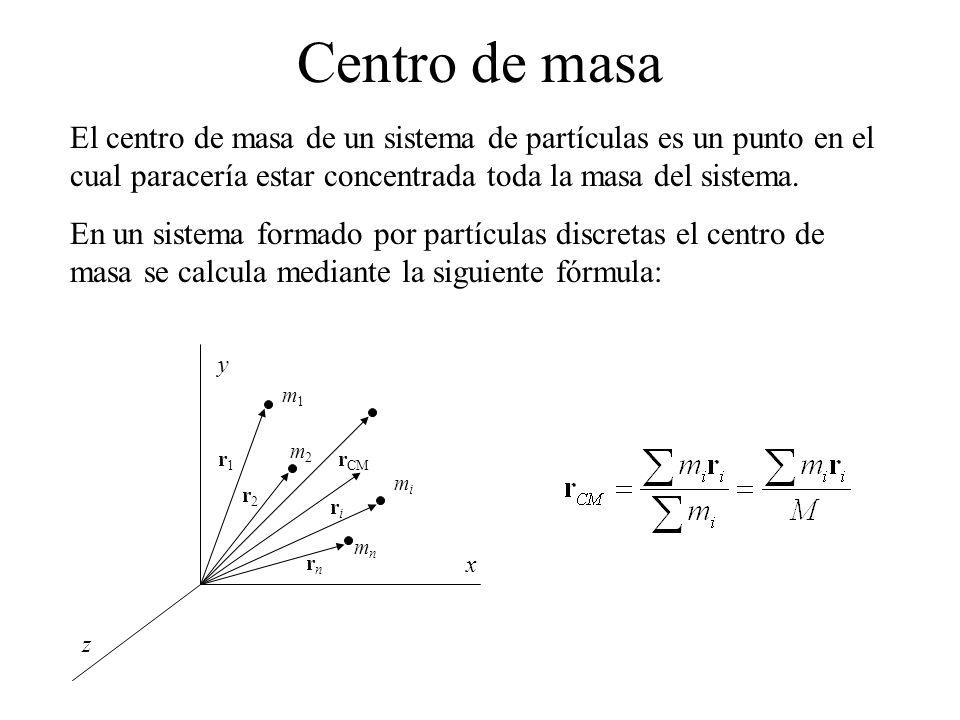 Centro de masa El centro de masa de un sistema de partículas es un punto en el cual paracería estar concentrada toda la masa del sistema.