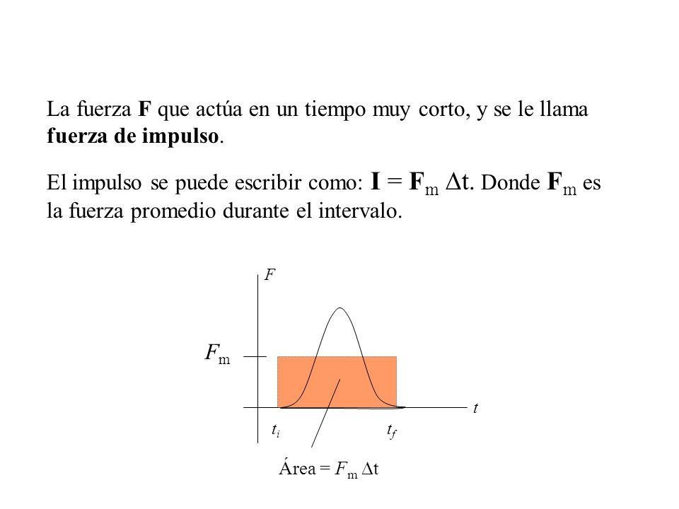 La fuerza F que actúa en un tiempo muy corto, y se le llama fuerza de impulso.