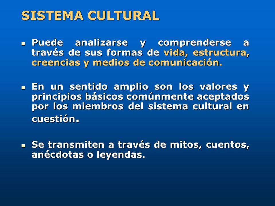 SISTEMA CULTURAL Puede analizarse y comprenderse a través de sus formas de vida, estructura, creencias y medios de comunicación.