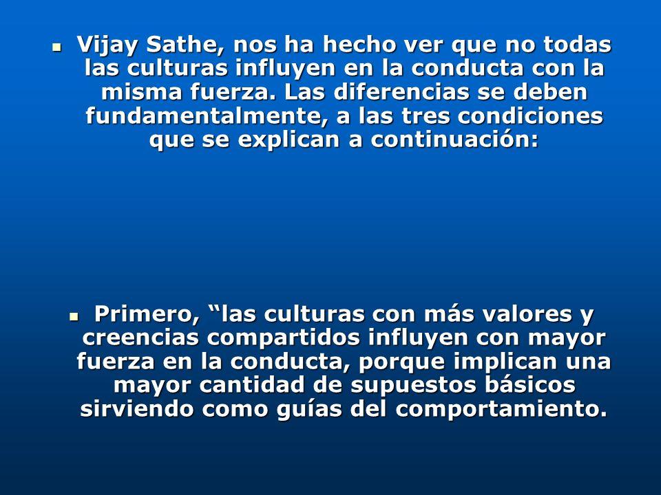 Vijay Sathe, nos ha hecho ver que no todas las culturas influyen en la conducta con la misma fuerza. Las diferencias se deben fundamentalmente, a las tres condiciones que se explican a continuación: