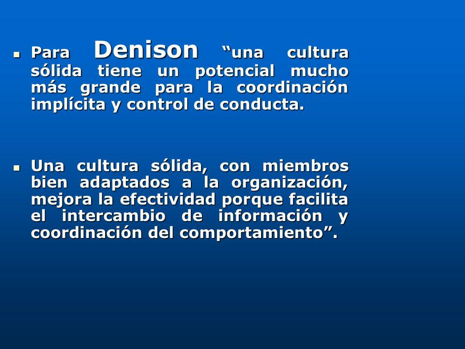 Para Denison una cultura sólida tiene un potencial mucho más grande para la coordinación implícita y control de conducta.