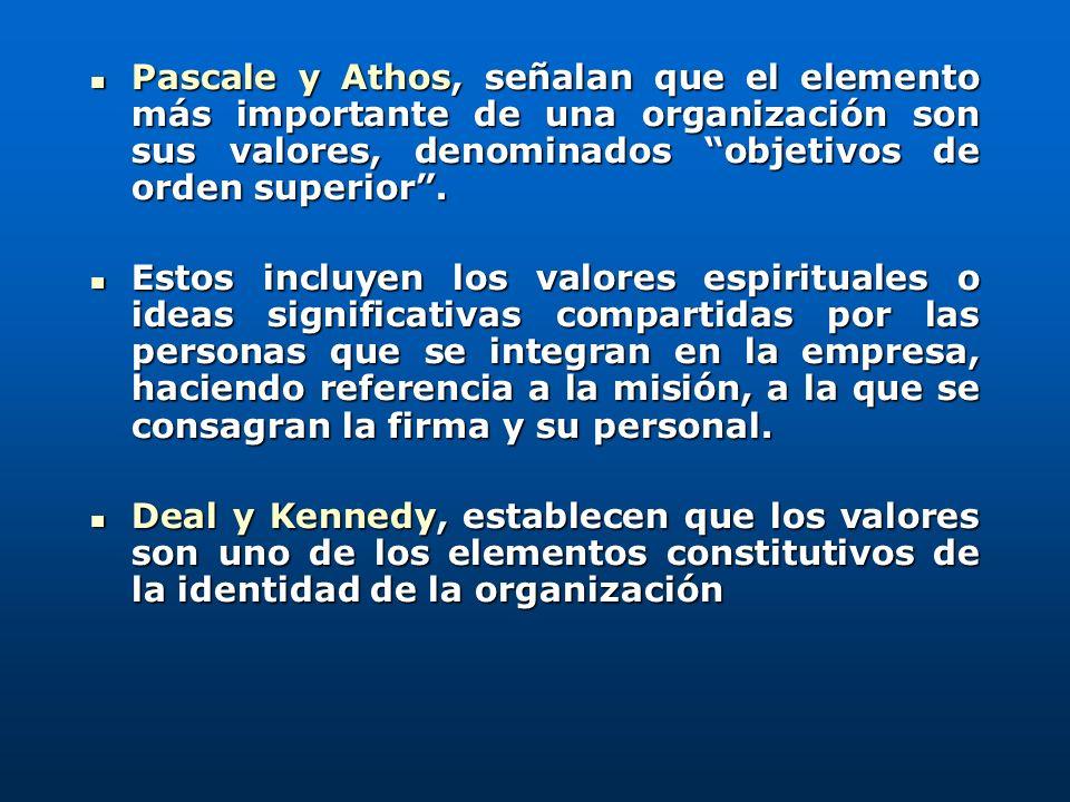 Pascale y Athos, señalan que el elemento más importante de una organización son sus valores, denominados objetivos de orden superior .