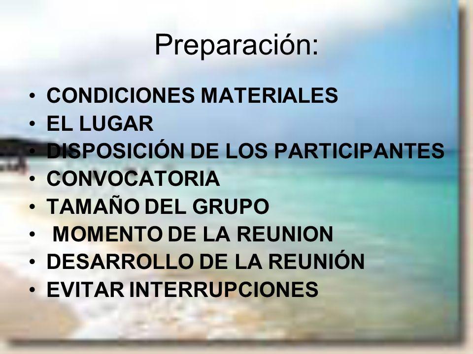 Preparación: CONDICIONES MATERIALES EL LUGAR