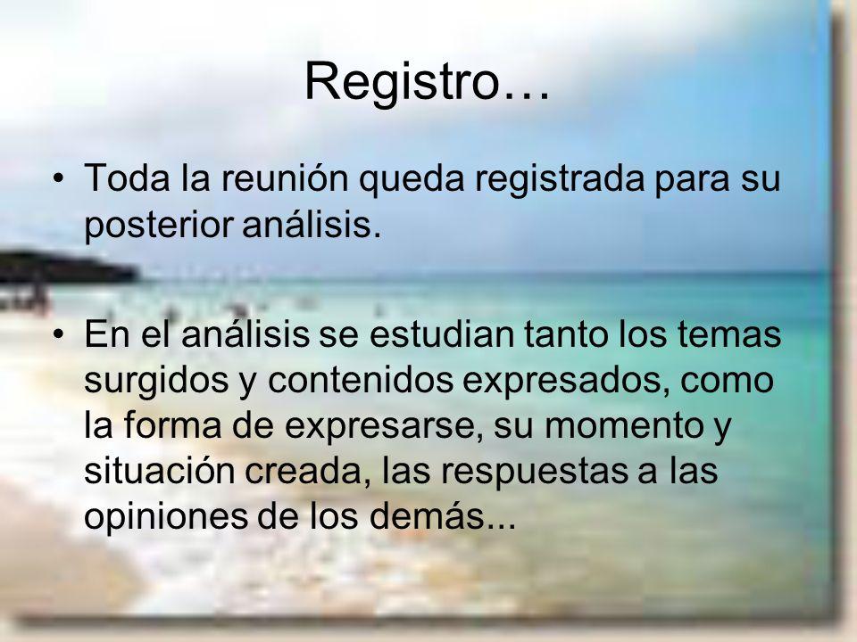 Registro… Toda la reunión queda registrada para su posterior análisis.