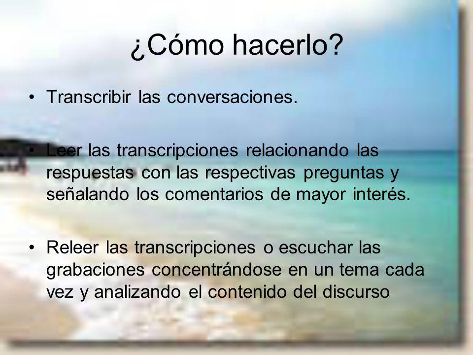 ¿Cómo hacerlo Transcribir las conversaciones.