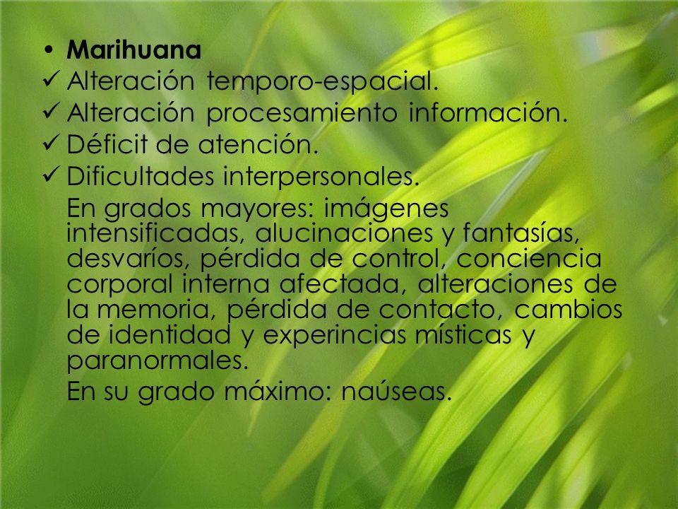 MarihuanaAlteración temporo-espacial. Alteración procesamiento información. Déficit de atención. Dificultades interpersonales.