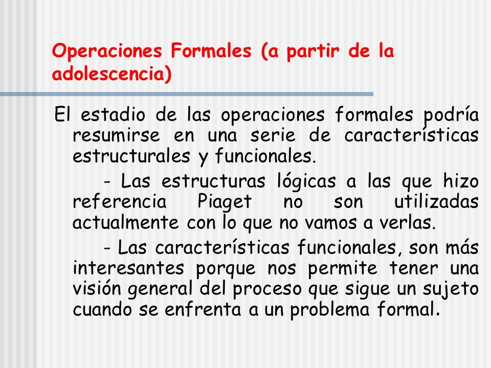Operaciones Formales (a partir de la adolescencia)