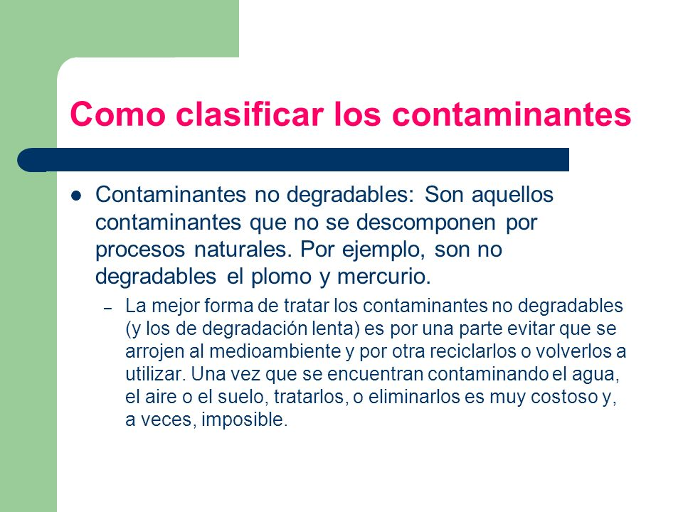 Como clasificar los contaminantes