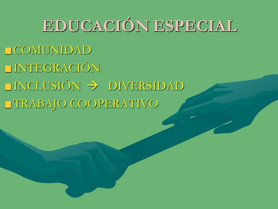 EDUCACIÓN ESPECIAL COMUNIDAD INTEGRACIÓN INCLUSIÓN  DIVERSIDAD