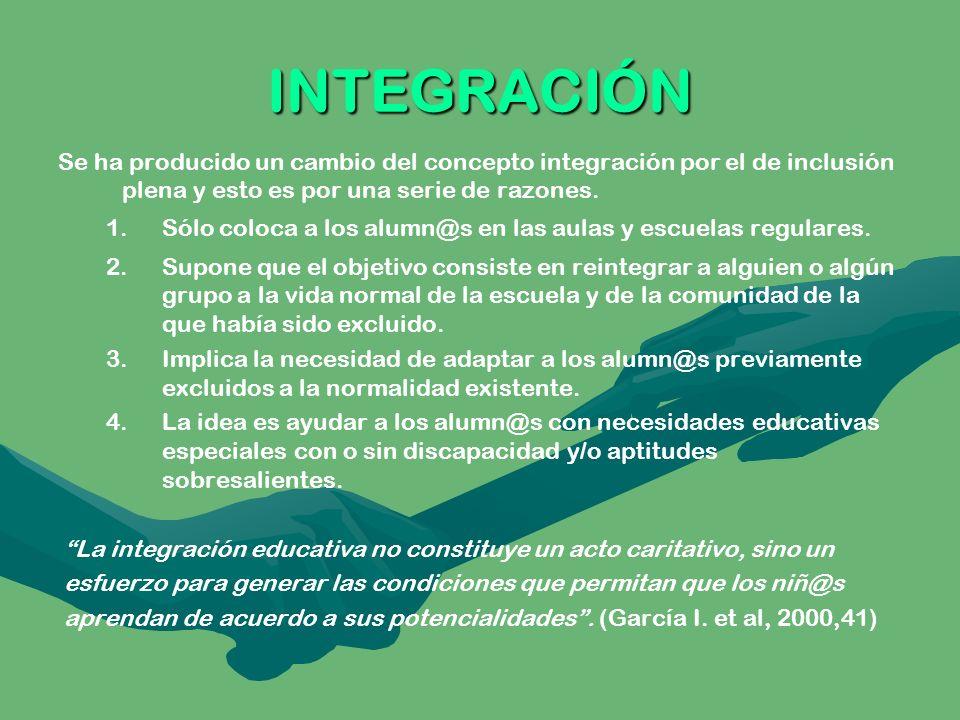 INTEGRACIÓN Se ha producido un cambio del concepto integración por el de inclusión plena y esto es por una serie de razones.