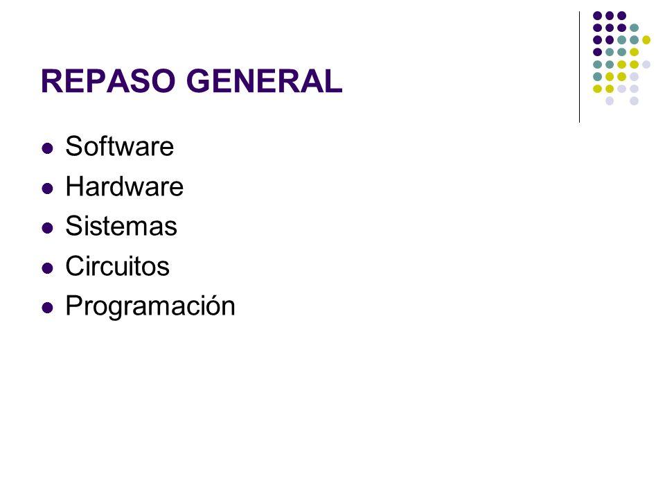 REPASO GENERAL Software Hardware Sistemas Circuitos Programación