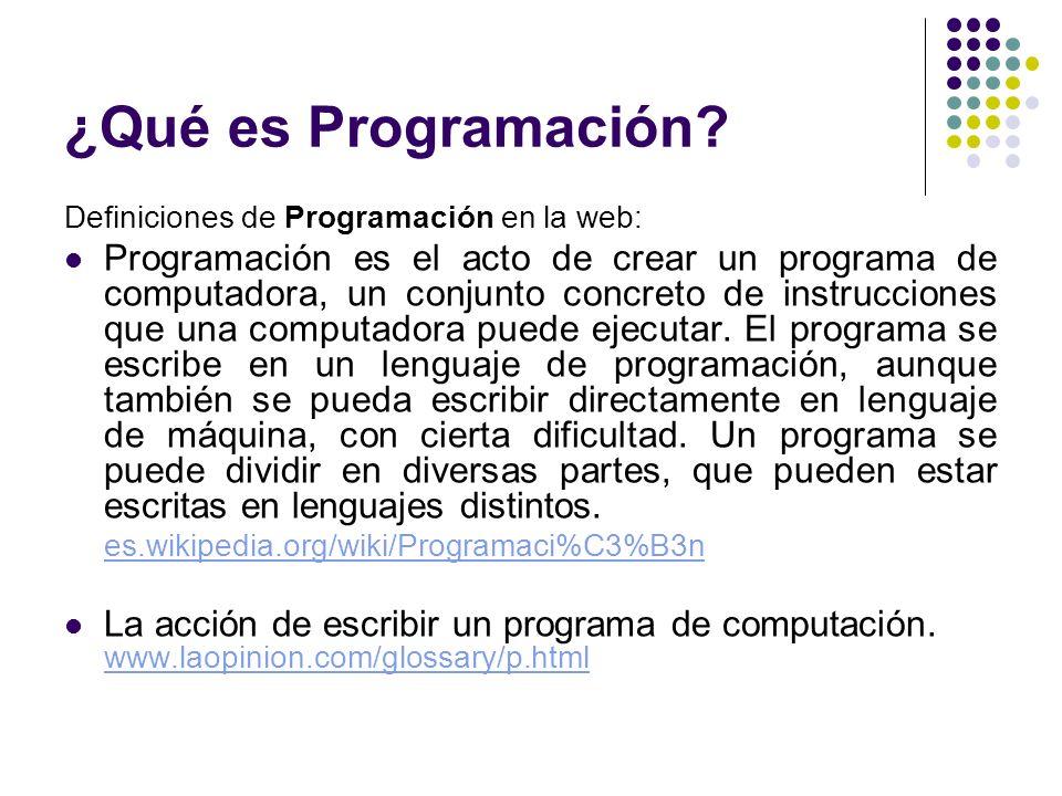 ¿Qué es Programación Definiciones de Programación en la web: