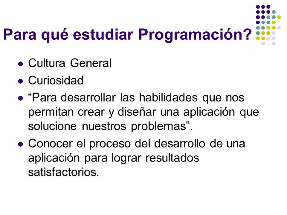 Para qué estudiar Programación