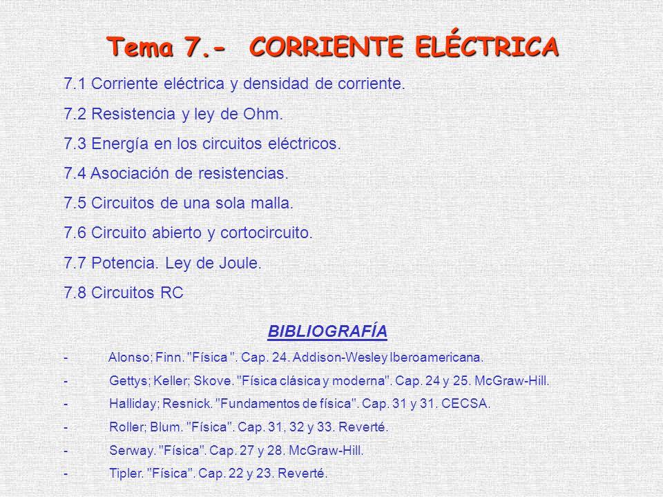 Tema 7.- CORRIENTE ELÉCTRICA
