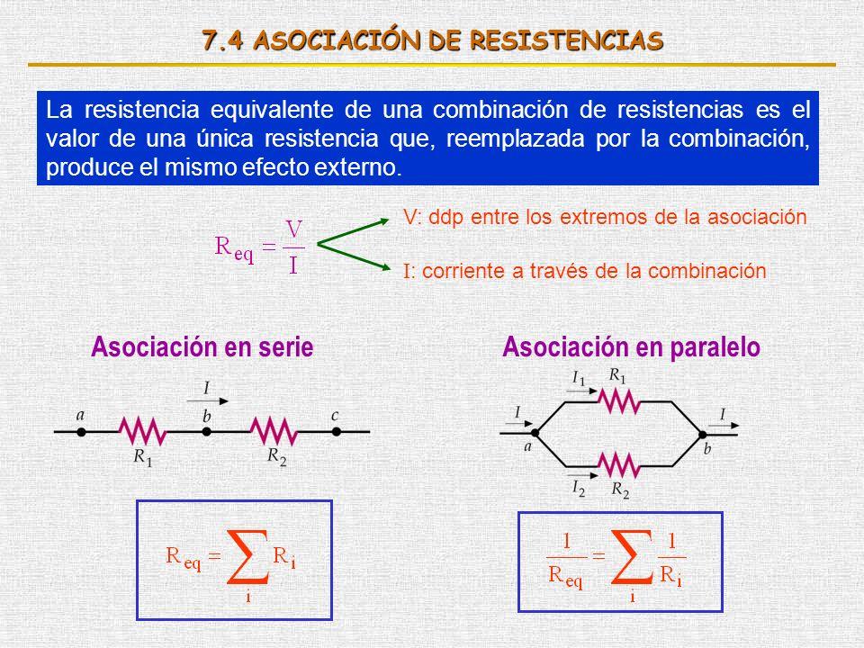 7.4 ASOCIACIÓN DE RESISTENCIAS