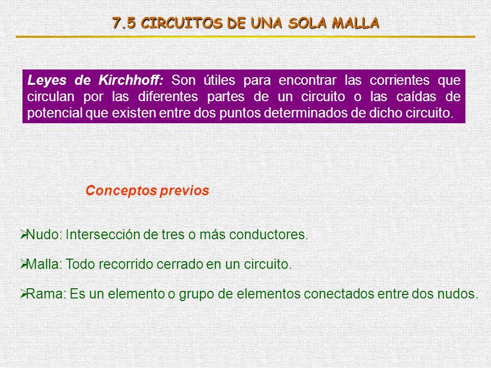 7.5 CIRCUITOS DE UNA SOLA MALLA