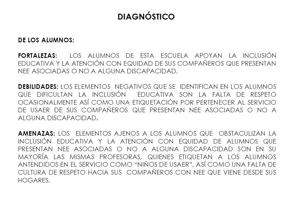 DIAGNÓSTICO DE LOS ALUMNOS: