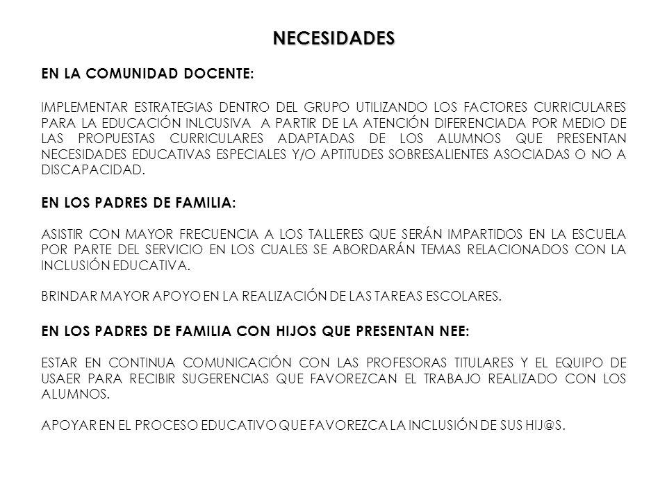 NECESIDADES EN LA COMUNIDAD DOCENTE: EN LOS PADRES DE FAMILIA: