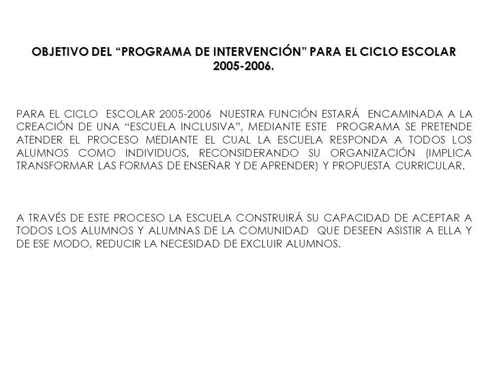 OBJETIVO DEL PROGRAMA DE INTERVENCIÓN PARA EL CICLO ESCOLAR 2005-2006.