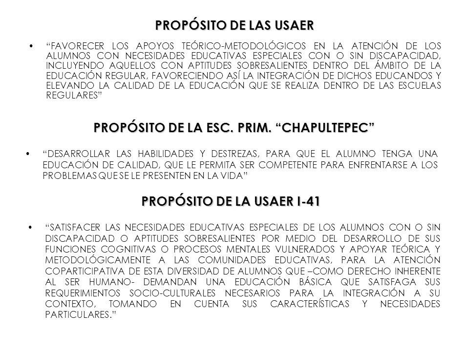 PROPÓSITO DE LA ESC. PRIM. CHAPULTEPEC PROPÓSITO DE LA USAER I-41