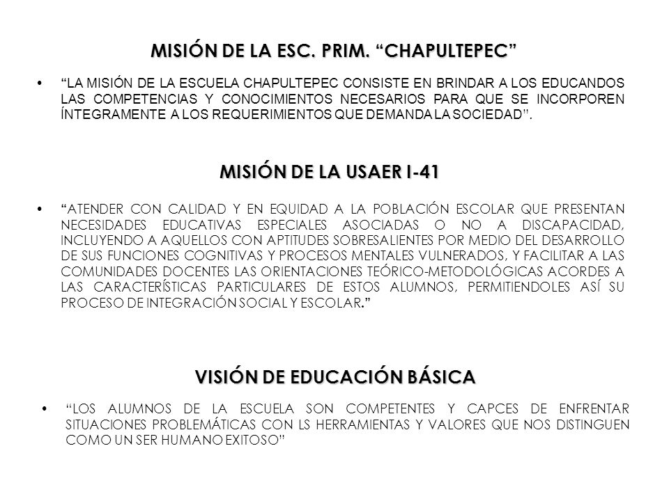 VISIÓN DE EDUCACIÓN BÁSICA