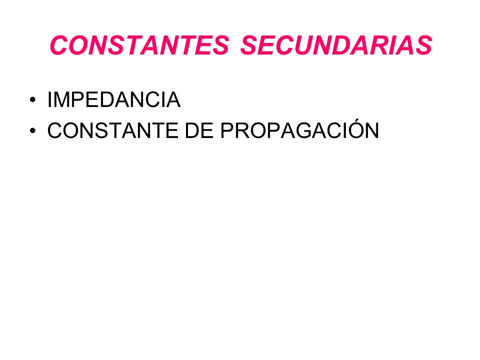 CONSTANTES SECUNDARIAS
