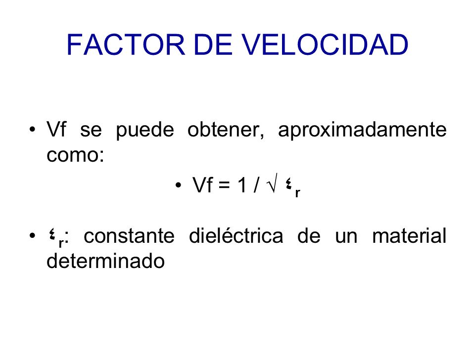 FACTOR DE VELOCIDAD Vf se puede obtener, aproximadamente como: