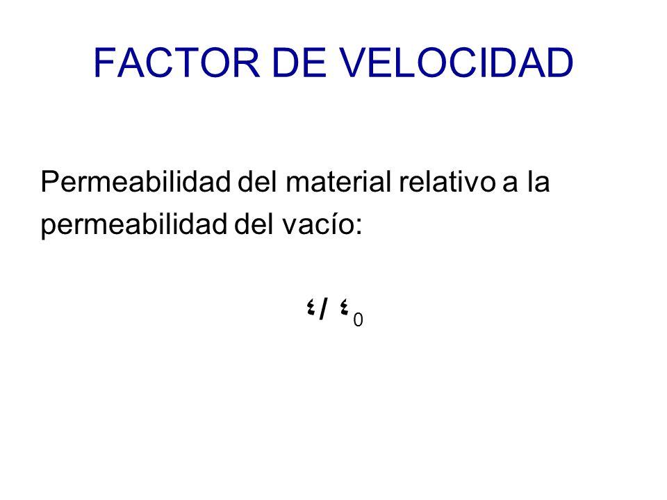 FACTOR DE VELOCIDAD Permeabilidad del material relativo a la