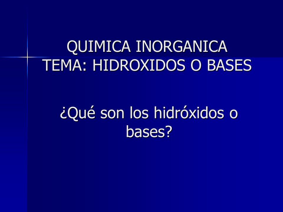 ¿Qué son los hidróxidos o bases
