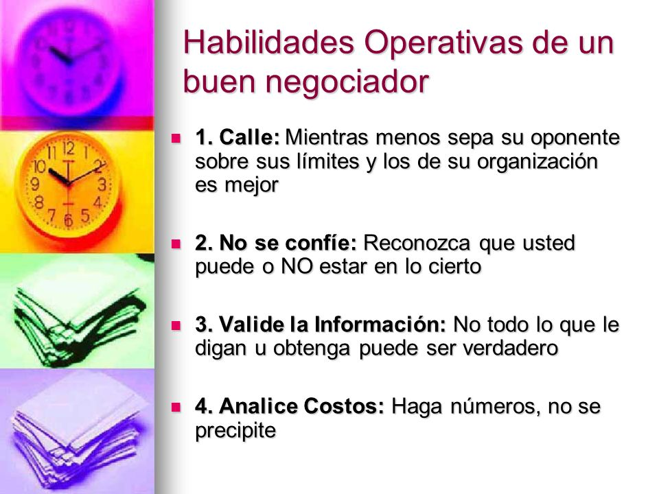 Habilidades Operativas de un buen negociador
