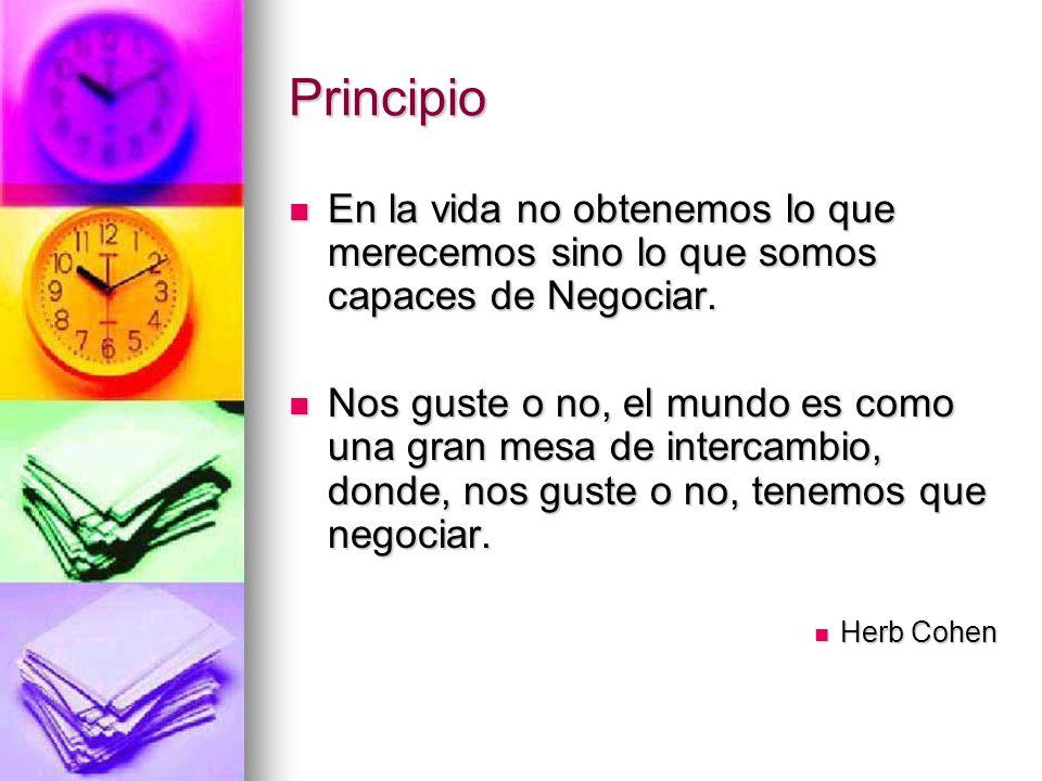 PrincipioEn la vida no obtenemos lo que merecemos sino lo que somos capaces de Negociar.