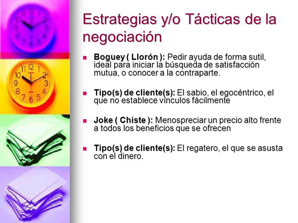 Estrategias y/o Tácticas de la negociación