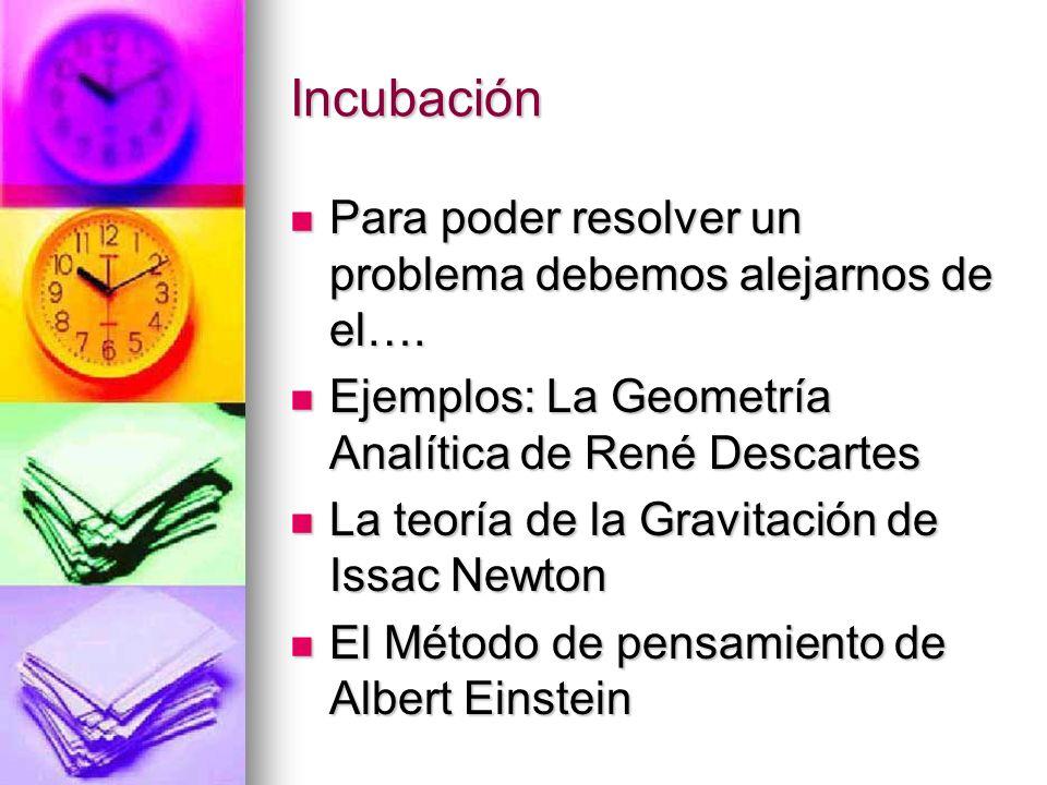 Incubación Para poder resolver un problema debemos alejarnos de el….