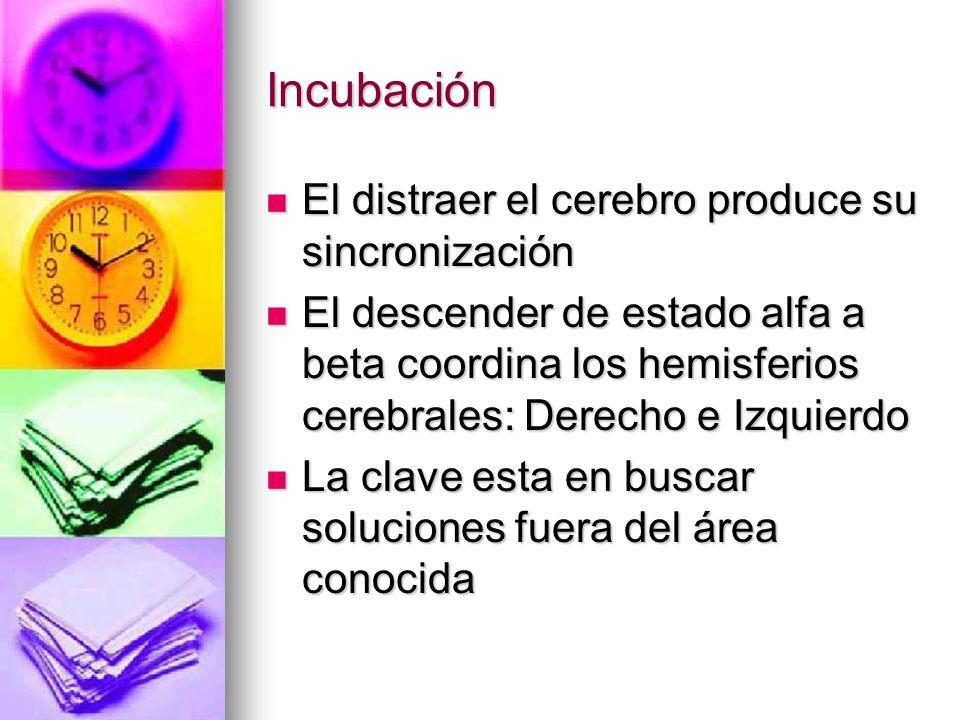 Incubación El distraer el cerebro produce su sincronización