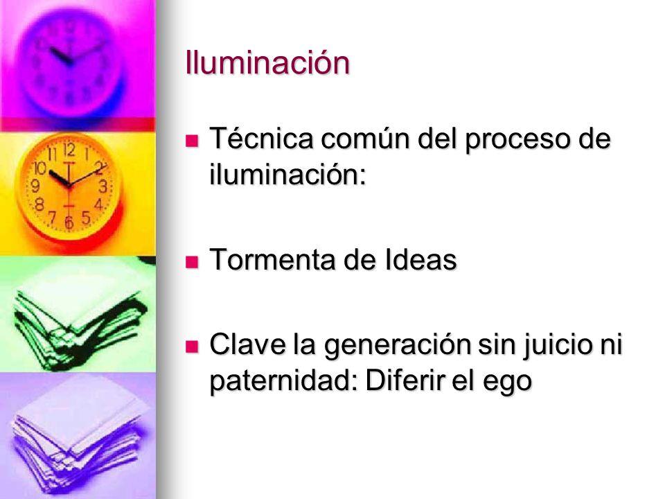 Iluminación Técnica común del proceso de iluminación:
