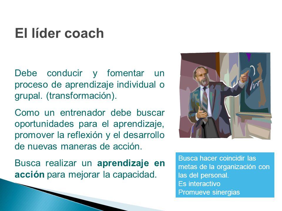 El líder coach Debe conducir y fomentar un proceso de aprendizaje individual o grupal. (transformación).