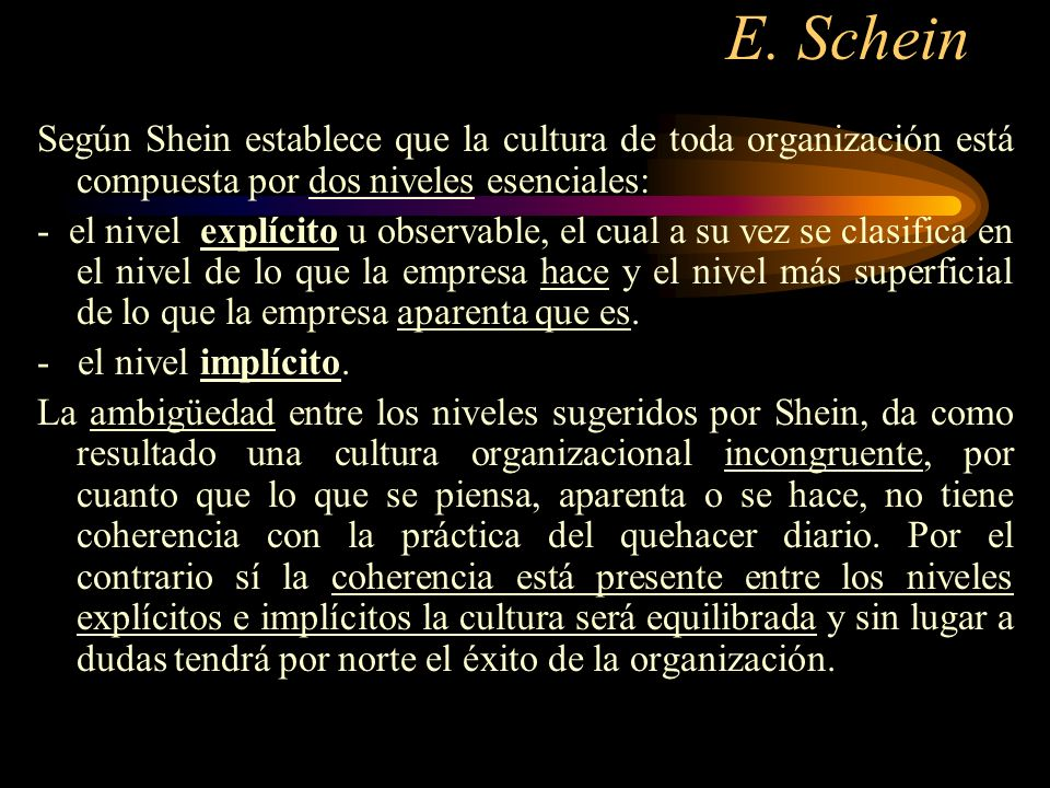 E. Schein Según Shein establece que la cultura de toda organización está compuesta por dos niveles esenciales: