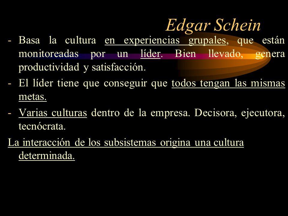 Edgar Schein Basa la cultura en experiencias grupales, que están monitoreadas por un líder. Bien llevado, genera productividad y satisfacción.